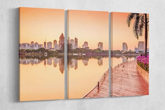 Bangkok Building at sunrise, Benjakiti Park ,Thailand Leather Print/Wall Art/Wall Decor/Multi Panel Print/Large Print/Better than Canvas!