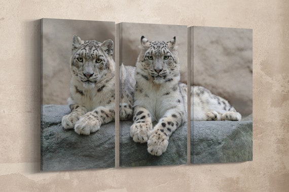 3 Panel Pair of Snow Leopard Leather Print/Large Animal Print/Wall Art/Multi Panel Wall Art/Wall Decor/Made in Italy/Better than Canvas!