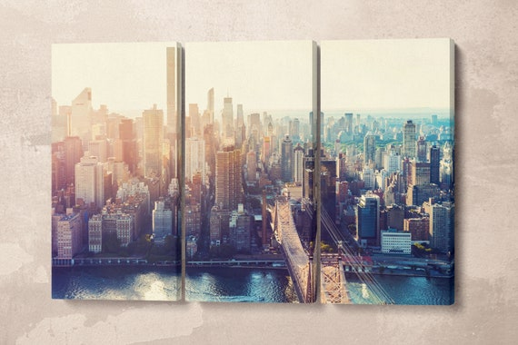 New York Skyline Aerial View Framed Canvas Leather Print