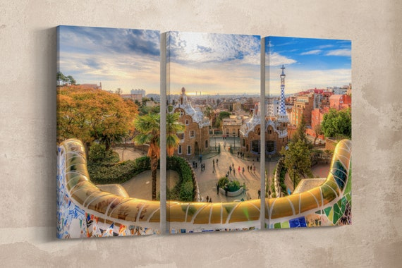 3 Pieces Barcelona Park Guell Vintage Filter Leather Print/Park Guell Multi Panel/Barcelona Wall Decor/Barcelona Wall Art/Better than Canvas