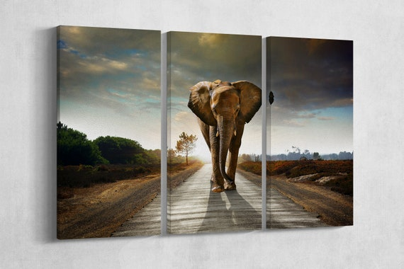 3 Panel Walking Elephant Leather Print/Large Wall Art/Large Animal Print/Multi Panel Wall Art/Wall Decor/Made in Italy/Better than Canvas!