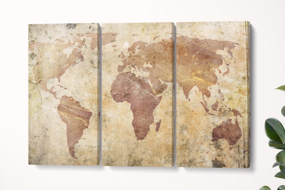 Cracked World Map Leather Print/Vintage World Map/Wall art/Extra large World Map/Wall decor/Made in Italy/Better than Canvas!