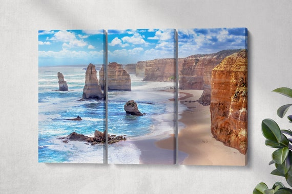 Twelve Apostles and orange cliffs along the Great Ocean Road, Australia framed canvas leather print/Large wall art/Made in Italy