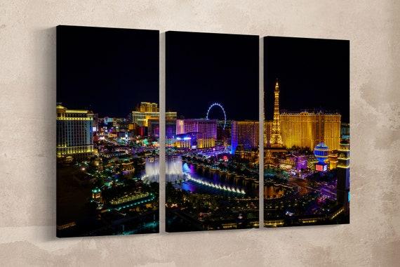 Las Vegas strip at night Leather Print/Extra large print/Multi Panel Print/Wall Art print/Wall decor print/Las Vegas/Better than Canvas!