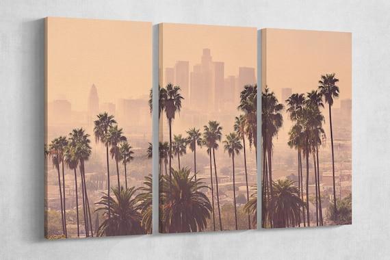 LA Palms Soft Tone Leather Print/LA Multi Panel Print/Extra Large Print/Multi Pieces Print/Wall Art/Wall Decor/Better than Canvas!