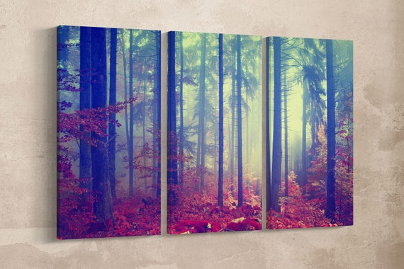 Magic Forest Vintage Filter Leather Print/Large Wall Art/Large Wall Decor/Multi Panel Canvas/Forest Print/Made in Italy/Better than Canvas!