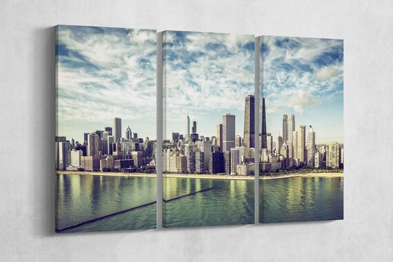 3 Pieces Chicago Skyline aerial view by the beach, vintage colors leather print/Chicago large print/Multi panel wall art/Better than Canvas!