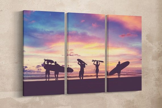 3 Pieces Surfer Silhouette Vintage Filter Leather Print/Extra Large Wall Art/Extra Large Wall Decor/Made in Italy/Better than Canvas!