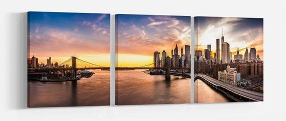 Brooklyn Bridge sunset Leather Print/New York Print/Extra Large Print/Multi Panel Print/Wall Art/New York Landscape/Better than Canvas!