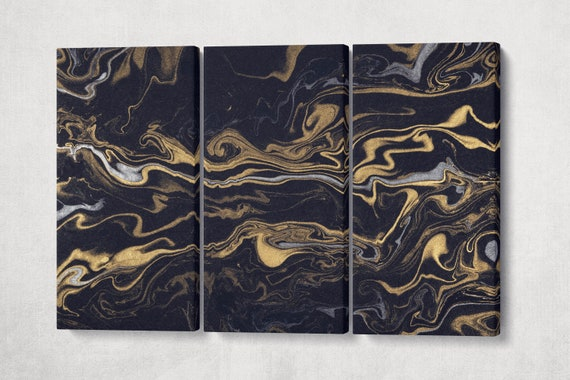Modern Wall Art Silver and Gold on Black Background Marble Pattern Leather Print | Abstract Wall Art | Abstract Canvas | Home Decor Print