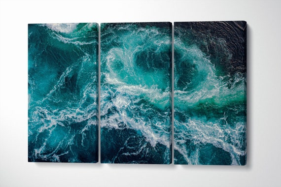 Dramatic Ocean Waves Artwork Framed Canvas Leather Print   Large wall art   Large wall decor   Made in Italy   Home decor