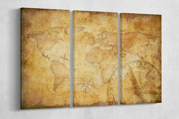 Aged Treasure Map Leather Print/Large World Map/Extra Large World Map/Wall Decor/Better than Canvas!