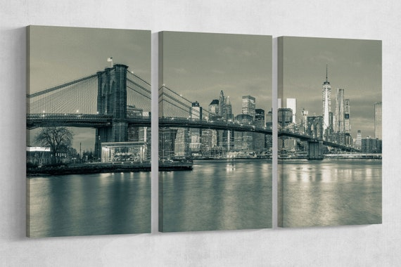 Brooklyn Bridge Black and White Leather Print/Large Wall Art/Multi Panel Print/Large New York Print/Made in Italy/Better than Canvas!