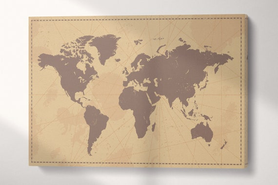 Vintage World Map/Soft tones world map/Multi panel world map/Large wall art/Extra large World Map/Wall decor/Better than Canvas!