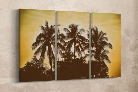 3 Panel Palm Trees Vintage Filter Leather Print/Large Wall Art/Multi Panel Print/Large Palm Print/Made in Italy/Better than Canvas!