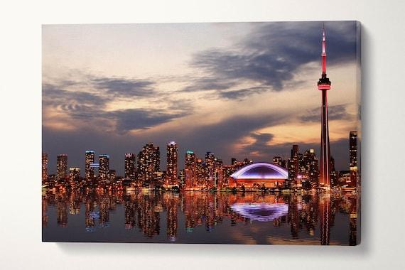 Toronto Skyline Wall Art Canvas Leather Print