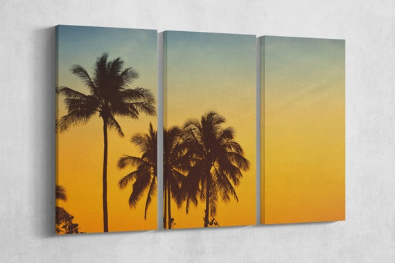 3 Panel Palm Tree at Sunset Leather Print/Large Wall Art/Large Wall Decor/Vintage Filter/Multi Panel/Made in Italy/Better than Canvas!