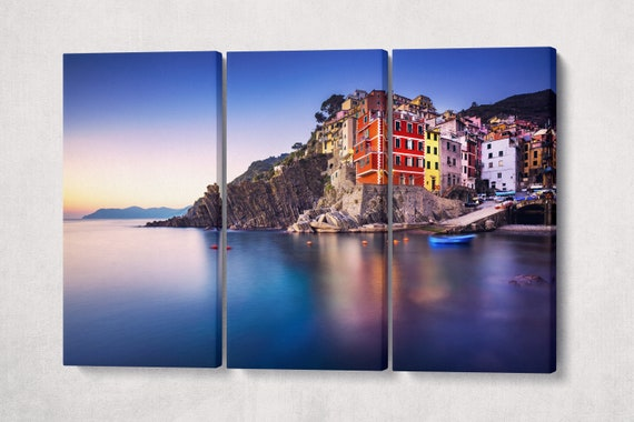 Riomaggiore, Cinque Terre, Liguria 3 Piece Leather Print/Cinque Terre Print/Liguria/Italy/Large Wall Art/Made in Italy/Better than Canvas