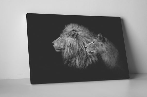 Lion&Lioness Leather Black and White Print/Large Lion Print/Large Lioness Print/Canvas Print/Large Wall Art/Made in Italy/Better than Canvas