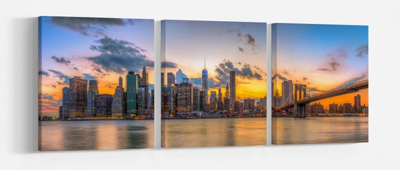 Brooklyn Bridge and downtown New York City at sunset leather print/Large wall art/Large New York print/Made in Italy/Better than canvas!