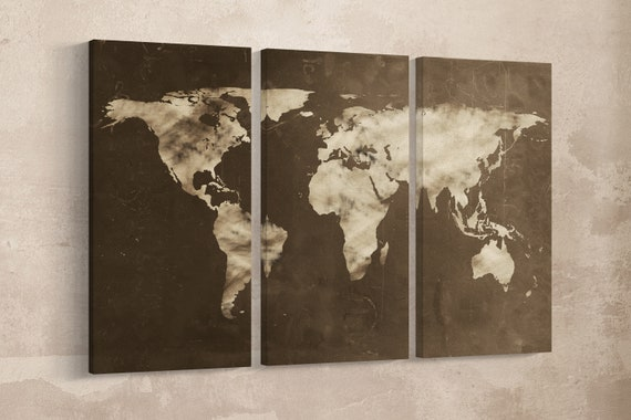 Large World Map Chalkboard Effect Leather Print/Big Size World Map/Multi Pieces World Map/Extra Large World Map/Better than Canvas!