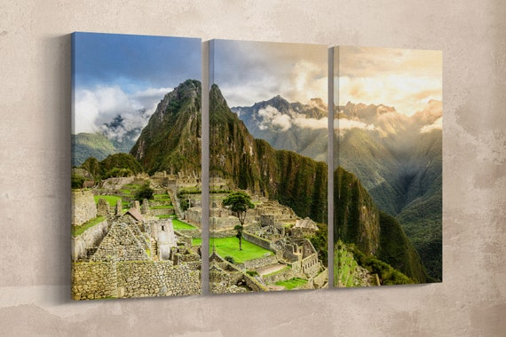 3 Pieces Machu Picchu, Cuzco Region, Peru Leather Print/Large Wall Art/Large Wall Decor/3 Panel Wall Art/Made in Italy/Better than Canvas!