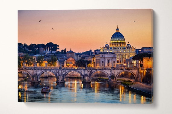 Rome, Saint Peter Basil Sunset Canvas Leather Print/Rome Large Print/San Pietro Print/Large Roma Wall Art/Made in Italy/Better than Canvas!