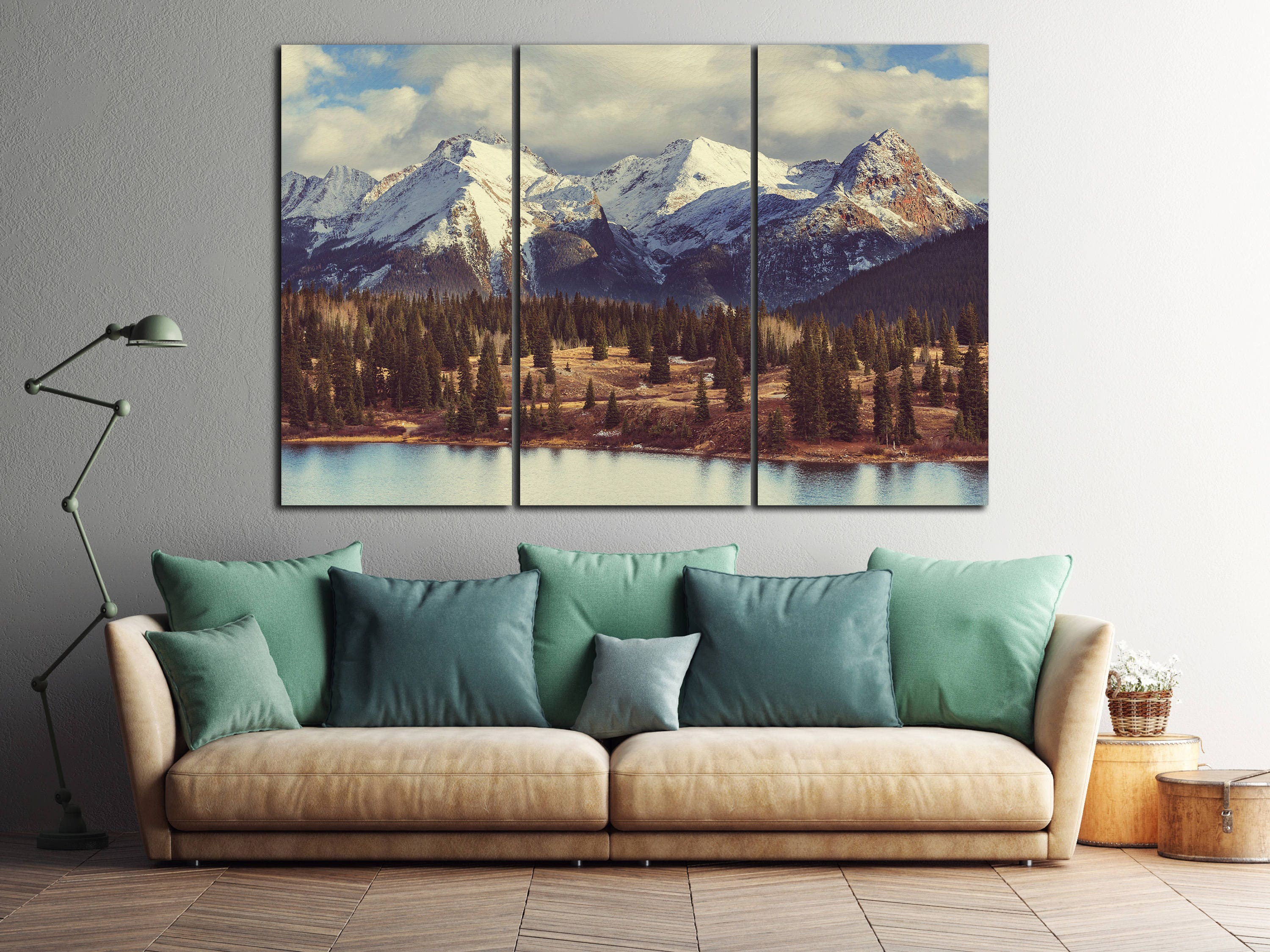 3 Panel Colorado Mountains Leather Print Large Wall Art Decor Nature Pieces Made In Italy Better Than Canvas