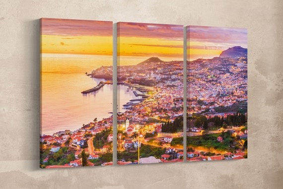 Funchal, Madeira framed canvas leather print/Large wall art/Large Madeira print/Portugal wall art/Made in Italy/Better than Canvas!