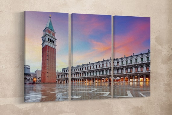 3 Panel San Marco square, Venezia Italy Leather Print/Venice Large Print/Venice Multi Panel Print/Venice Wall Art/Better than Canvas!