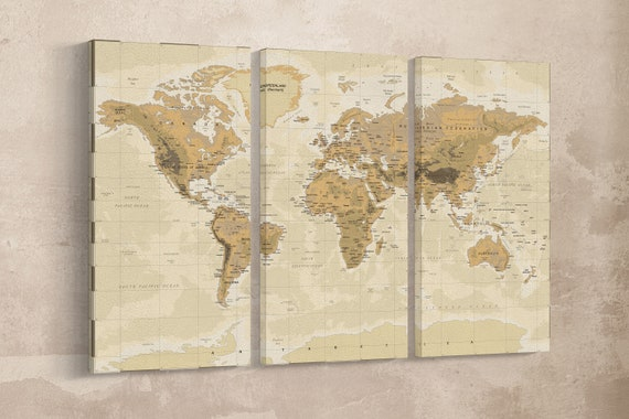 Push Pin Vintage Phisical Map Of The World Leather Print/Home dècor/Wall art/Extra large World Map/Multi Panel World Map/Better than Canvas!