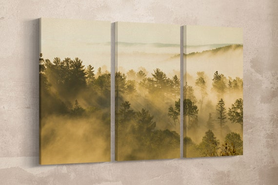 Aspen foggy landscape framed canvas leather print/Aspen Colorado print/Large wall art/Large wall decor/Made in Italy/Better than canvas!