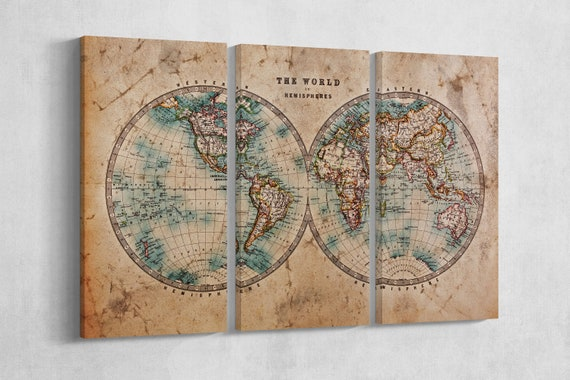 Large World Map World in Hemispheres Leather Print/Vintage World Map/Wall art/Large World Map/Wall decor/Made in Italy/Better than Canvas!