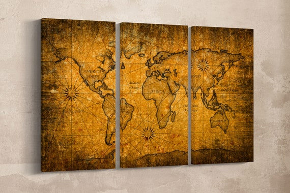 3 Panel Grunge Detail World Map Leather Print/Large Wall Art/Large Wall Decor/Extra Large World Map/Multi Panel World Map/Better than Canvas