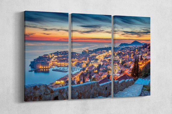 Dubrovnik at sunset canvas leather print/Large Dubrovnik print/Large wall art/Triptych/GOT citadella/Made in Italy/Better than Canvas!