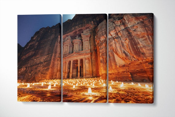 Petra by night, Jordan ancient town wall art canvas eco leather print