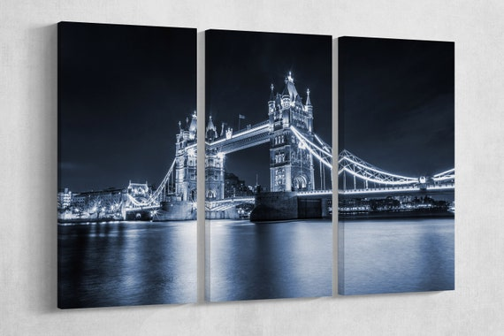 3 Pieces Tower Bridge at night Leather Print/Large print/Multi Panel Print/Wall Art print/Wall decor print/London print/Better than Canvas!