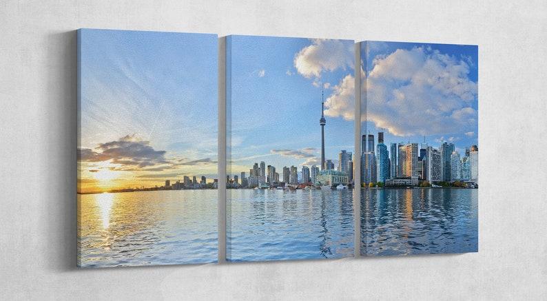 "Toronto skyline at sunset Ontario Canada Leather Print/Large 3P 72""x36""|180x90 cm"