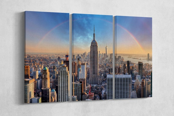 3 Panel New York Skyline Rainbow Leather Print/Empire State Building/One World Trade Center/Large Wall Art/Made in Italy/Better than Canvas!
