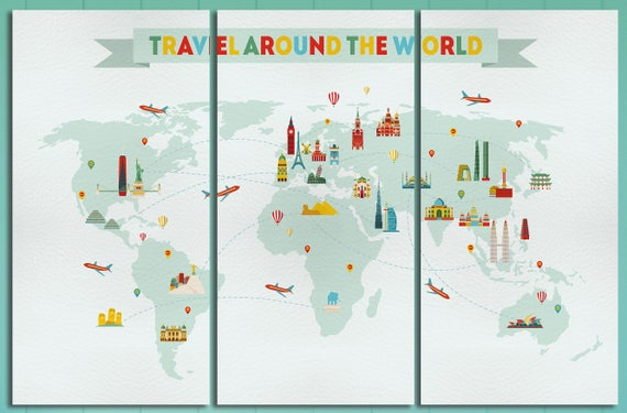 Travel around the world World Map/Travel Map/Multi panel world map/Large wall art/Extra large World Map/Wall decor/Better than Canvas!