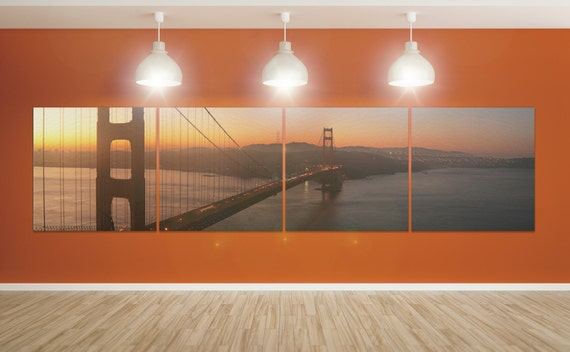4 Panels Golden Gate Panoramic View Sunset Leather Print/Leather Art/San Francisco Large Print/Wall Art/Multi Panel/Better than Canvas!