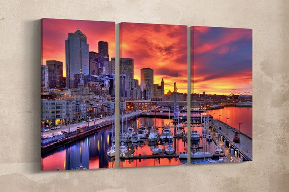 3 Panel Seattle Skyline at Dawn Leather Print/Seattle Canvas Print/Large Wall Art/Large Wall Decor/Triptych/Made in Italy/Better than Canvas