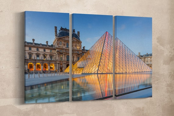 3 Panel Louvre Museum in Paris, France Leather Print/Large Wall Art/Multi Panel Wall Art/Large Wall Decor/Made in Italy/Better than Canvas!