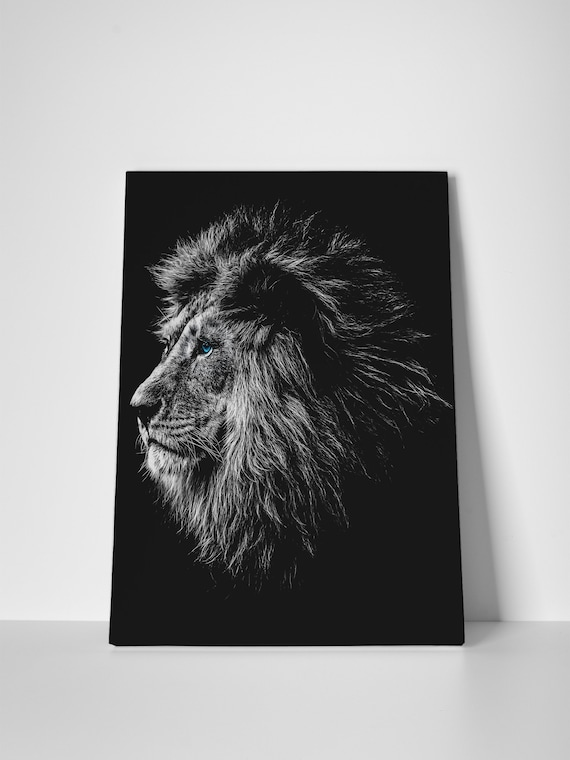 Blue eyed lion portrait canvas leather print