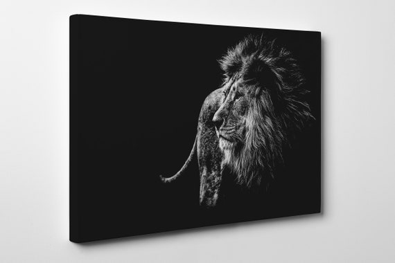 Large Lion Black and White Leather Print/Large Lion Canvas/Large Animals Print/Large Wall Art/Made in Italy/Better than Canvas!