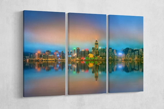 Hong Kong Panoramic Photo Leather Print/Large Wall Art/Large Wall Decor/Large Hong Kong Print/Home Art/Made in Italy/Better than Canvas!