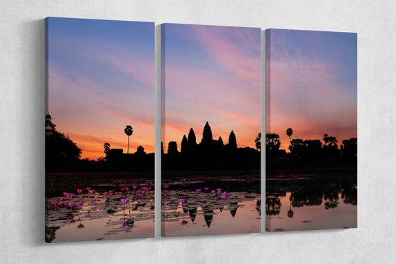 Angkor Wat Cambodia Silhouette Leather Print/Multi Pieces Print/Multi Panel Print/Extra Large Print/Better than Canvas!