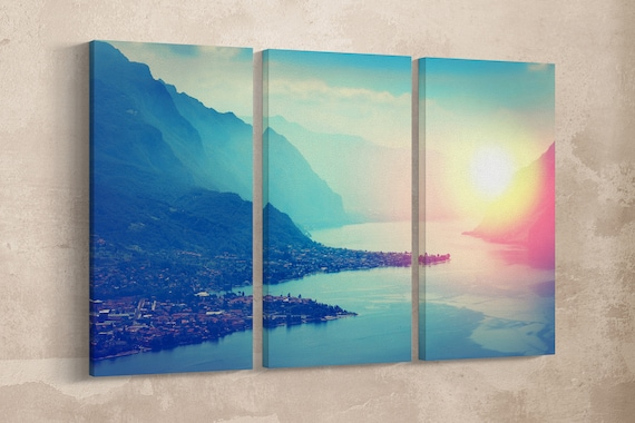 Lake Como at Sunset Leather Print/Vintage Filter Print/Large Lake Como Print/Large Wall Art/Italy Print/Made in Italy/Better than Canvas!