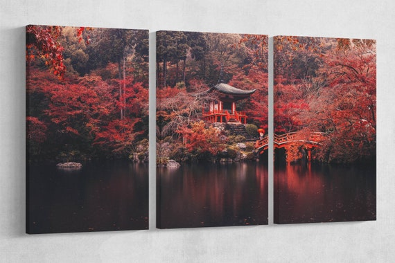 Daigoji Temple Japan in autumn canvas leather print/Kyoto print/Large wall art/Japan home decor/Japan wall art/Autumn print/Made in Italy/