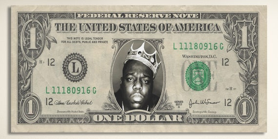The Notorious B.I.G. One Dollar Leather Print/Large Print/Large Wall Art/Biggie Smalls Print/One Dollar Print/Better than Canvas!